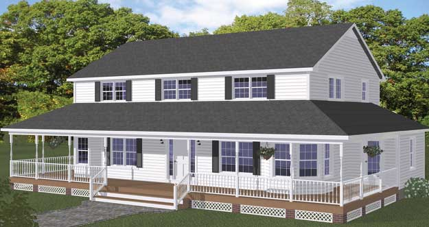 Free blueprints new line home design two story homes for Two story farmhouse plans